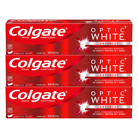 Colgate Optic White Whitening Toothpaste, Sparkling White - 5 ounce (3 Pack) Whitening Toothpaste (3 x 5-Ounce Tubes)