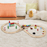 SainSmart Jr. Wooden Train Set Toy with Double-Side Train Tracks, 4 Magnetic Train Cars and Wooden Bridge Railway Set for Toddlers, 37 PCS 37PCS Double Side Track