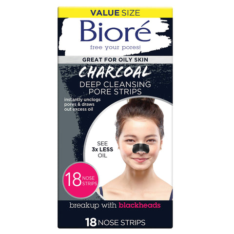 Bioré Blackhead Removing and Pore Unclogging Deep Cleansing Pore Strip with Natural Charcoal, 18 Count 18 count Nose Strips