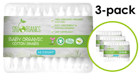 Baby Cotton Swabs (3 packs of 60 ct. Total 180), Organic Fragrance and Chlorine-Free Kids Safety Swabs, 100% Biodegradable Gentle Baby Qtips, Cruelty-Free & Hypoallergenic Children Cotton Buds 3 Pack (180)