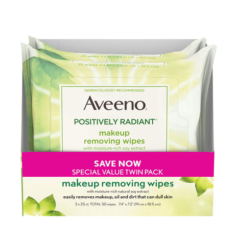 Aveeno Positively Radiant Oil-Free Makeup Removing Wipes to Help Even Skin Tone and Texture with Moisture-Rich Soy Extract, 25 ct., Twin pack