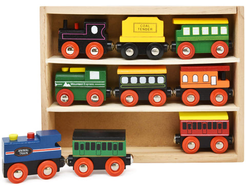 Number 1 in Gadgets Wooden Train Cars - 9 Piece Collection of Magnetic Trains and Wood Engine and Vehicles Compatible with All Major Brands, A Deluxe Railway Set for Toddlers Kids Boys and Girls