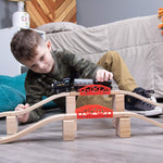 Bridge Bonanza! Deluxe Train Track Set (22 pcs.) | Includes 2 Rail Bridges, 2 Brick Bridges, 6 Ascending Tracks, 12 Risers Wooden Track Pieces | Compatible with Major Brands | Classic Hobby Toy