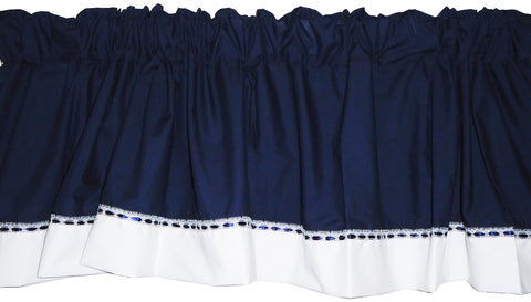 Baby Doll Bedding Regal Window Valance, Navy