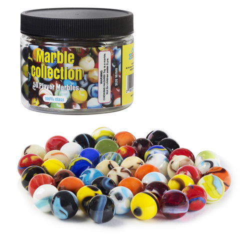 Player Glass Marbles with Marble Jar For Storage, Set of 50, 16mm, Assorted Colors