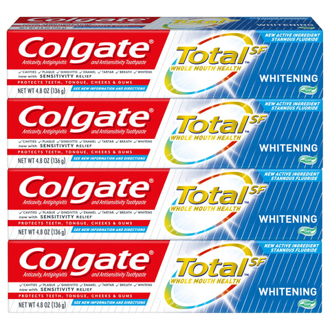 Colgate Total Whitening Toothpaste Gel - 4.8 Ounce (4 Pack) Pack of 4