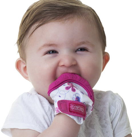 Nuby  Soothing Teething Mitten with Hygienic Travel Bag, Pink, 1 Count Pink Mitten