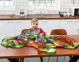 JOYIN Dinosaur 192 Pieces Race Tracks Flexible Train Track Race Car Vehicle Playset with 2 Battery Powered Race Cars and 2 Dinosaur Actions Figures (205 Piece in Total)