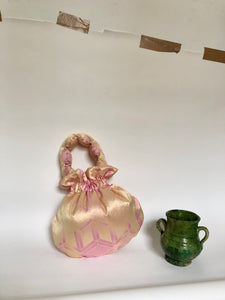 Sample Sale- Champagne Pink Silk Scallop Handle Bag