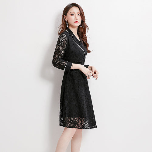 Autumn new suit collar high waist lace dress