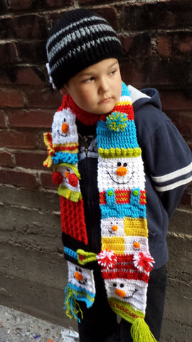 Snappy Sampler Snowman Scarf
