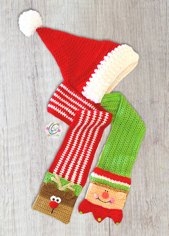 Santa and Friends Hooded Scarf