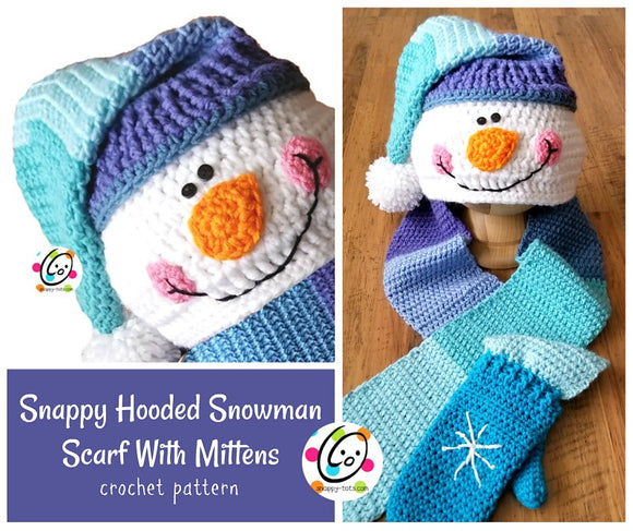 Hooded Snowman Scarf With Mitts