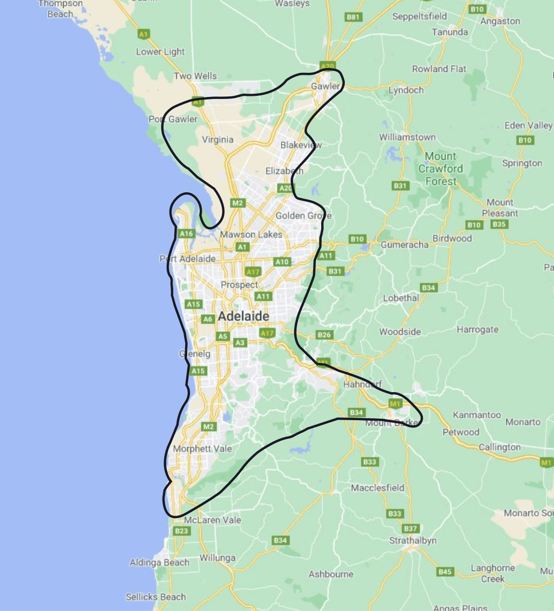 Adelaide local Delivery Areas