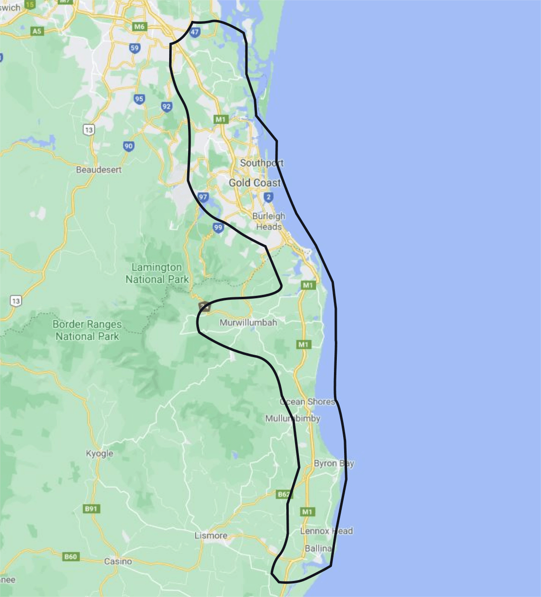 Gold Coast Local Delivery Areas