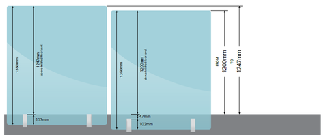 1350mm high Glass Pool Fence Panels.  Choose your width,