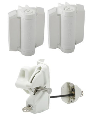 White Lokk latch deluxe & TruClose heavy duty hinge pair HINGE & LATCH KIT