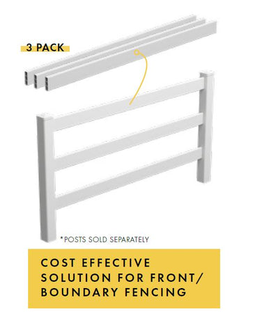 Fencing Rails - 3 Pk, PVC Hamptons fencing rails