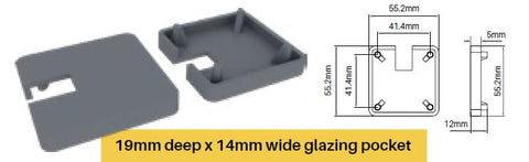 Offset one way notched cap - extended lip for semi frameless pool fence posts