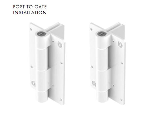 White Kwik Fit® Aluminium hinge pair ADJUSTABLE TENSION