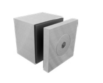 40mm square cap x 30mm body standoff SS316, Square standoff for glass fixing, 316 Stainless Steel