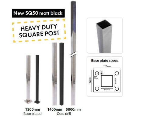 SQ50 heavy duty posts - 50.8x50.8mm square SS316 - 2mm wall thickness - Various lengths