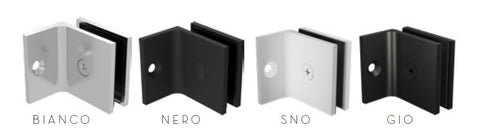 Square slimline offset wall bracket for frameless glass shower screens, gun metal grey, white, matt black , chrome