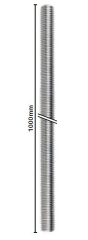 1000mm threaded rod M12 thread - SS304