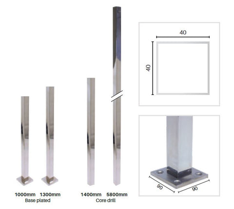 Stainless steel post, 40x40mm MOD40 posts, core drill or base plate