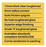Frameless 12mm Glass Pool Fence Panels, choose your size -