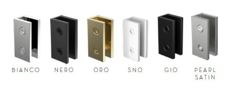 Wall bracket for frameless shower screen glass, Gunmetal Grey, White, Brushed Gold, Chrome