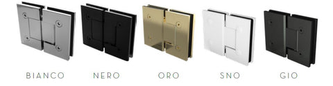 Glass to Glass frameless shower screen door hinge, Gunmetal grey, white, matt black, brushed gold, chrome
