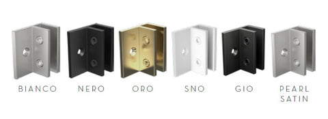 Offset wall bracket for frameless glass shower screens, Gunmetal, White, Brushed Gold, Black, Chrome