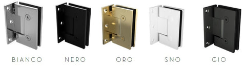 Offset wall to glass frameless shower screen hinge, gunmetal grey, black, white, brushed gold, chrome