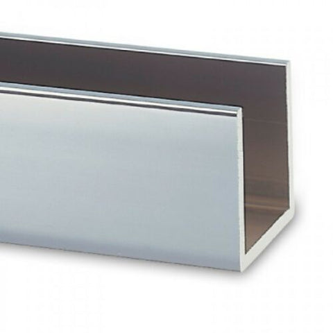 Aluminium Glazing Channel for Glass Shower Screens,10mm glass,Chrome,2100mm long