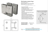 10mm Frameless Glass Shower Door, 2041mm x 600mm, with hinges and handle.
