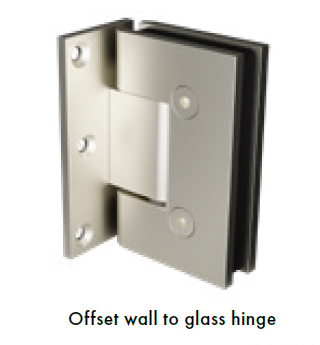 Brushed Nickel Glass Shower Screen Hinge Offset Wall to Glass hinge