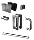 Frameless Shower Hardware Kit, BRACKETS,HINGES AND HANDLE. ALL CHROME - No Support Bar