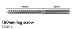 Lag screw, M12 Thread with 12mm Coach Screw, Hex Drive, SS304