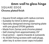 Frameless Shower Door Hinge for 6mm and 8mm Glass