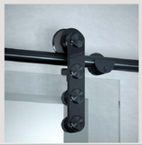 Glass Sliding Barn Door Hardware Kit, Stainless steel, Matt black