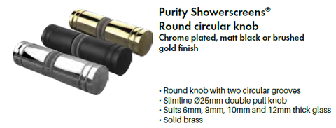 Shower Door Knob, Brushed Gold, Chrome, Matt Black