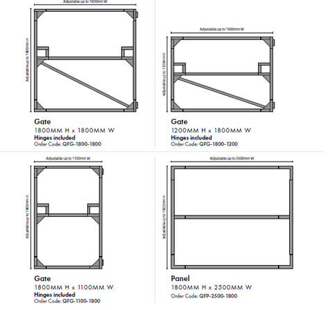 Gate Frame, Galvanised Steel. Adjustable. Pre Welded Hinges
