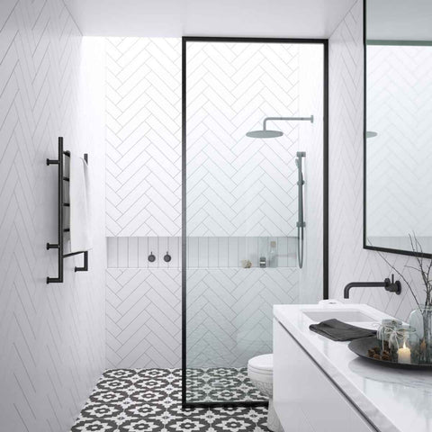 Framed Walk in Shower Screen, 3 width options. Shower Panel, Matte Black/silver