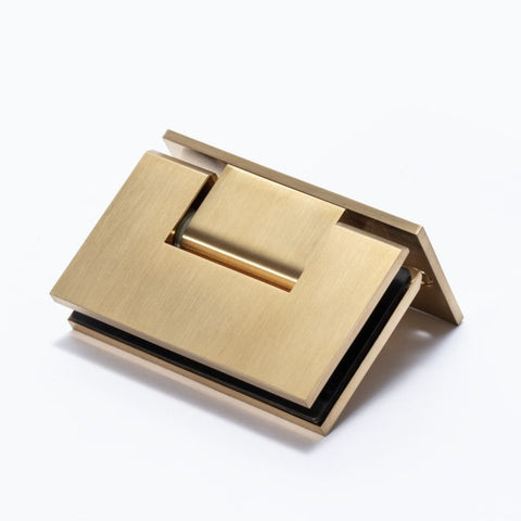 FORGE BRUSHED BRASS SHOWER HINGE GLASS TO WALL L-SHAPE 90 DEGREE 10mm glass - Brushed Brass