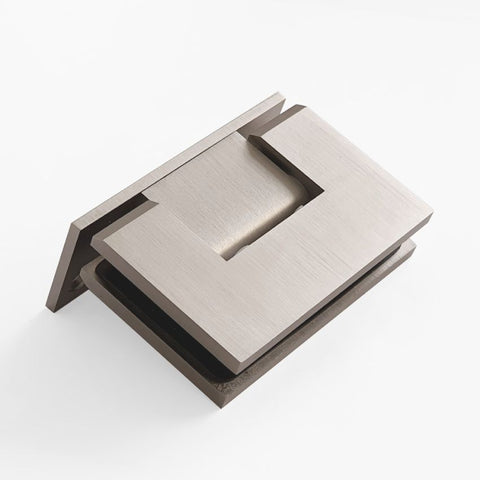 FORGE BRUSHED NICKEL SHOWER HINGE GLASS TO WALL L-SHAPE 90 DEGREE 10mm glass - Brushed Nickel