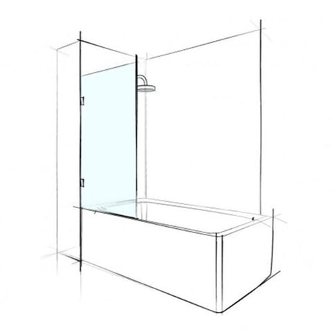 Fixed Bath Shower Screen, 1500 x 750mm with 2 x wall brackets