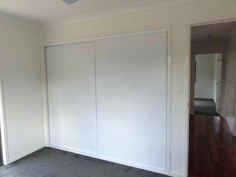 White Vinyl Sliding Wardrobe Door System
