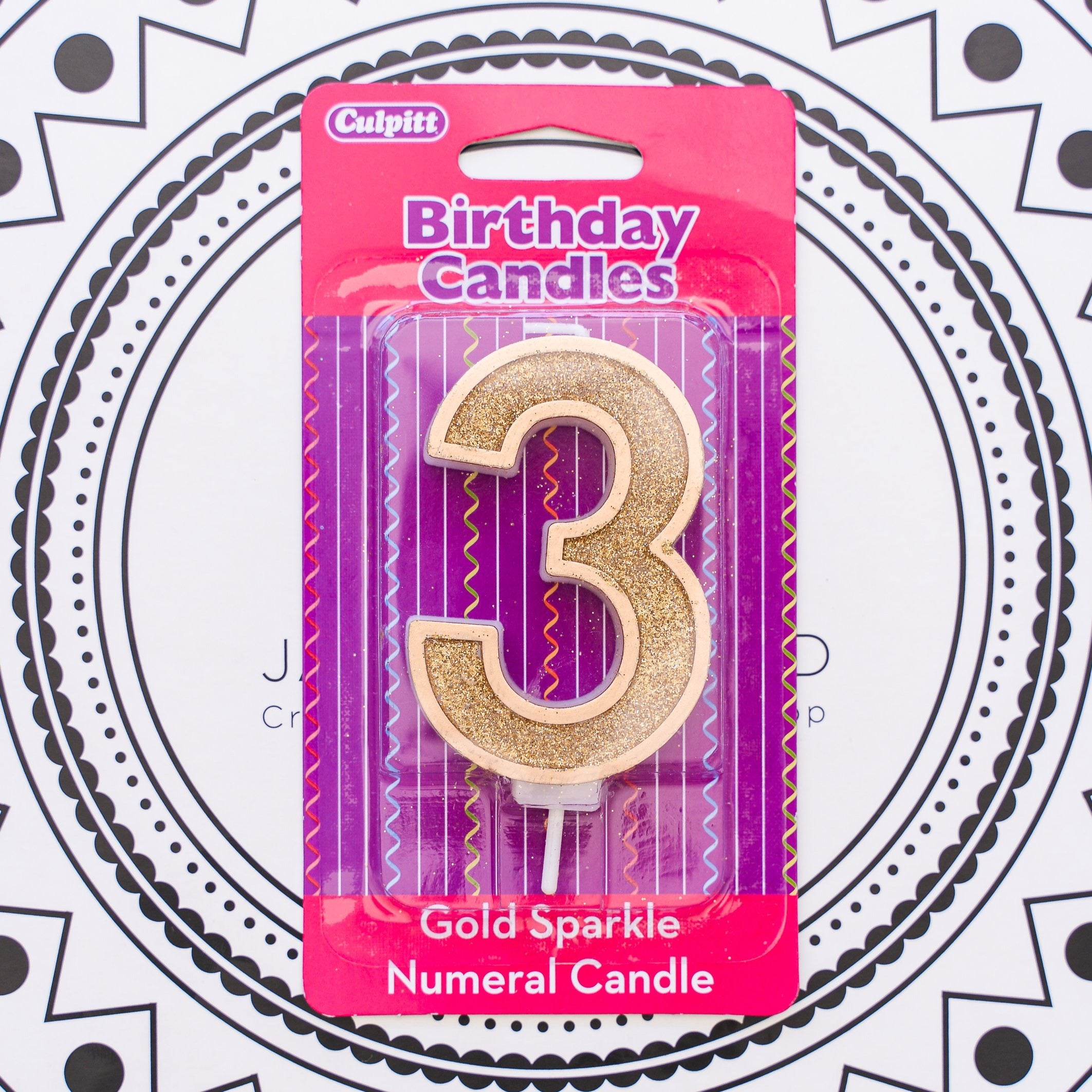 Gold Number Candle - 3