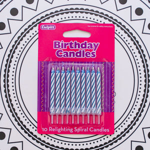 Blue Relighting Spiral Candles -10/pack